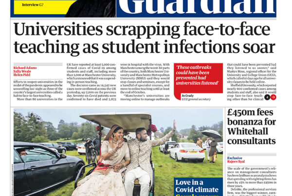 The Guardian Front Page 6th October 2020 - Saheli Events