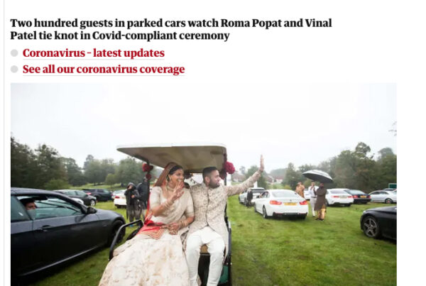Getting married in Covid - The Guardian - Saheli Events